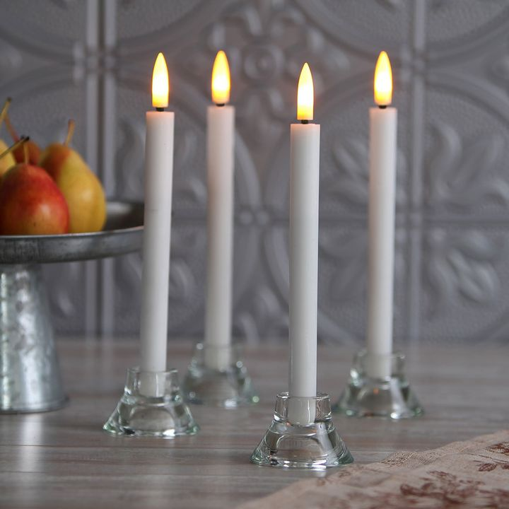 Tall Light Push-Activated Wax Taper Candles with Timer, Set 4