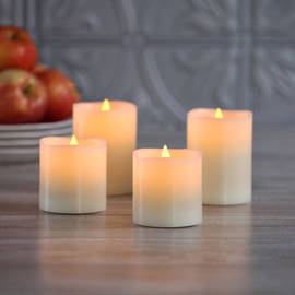 Tall Light Flameless LED Wax Pillar Candles with Timer, Set of 4