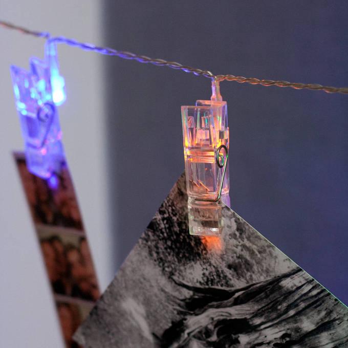 Lights.com String Lights Decorative String Lights Multicolor 20 LED Clothespin Battery ...
