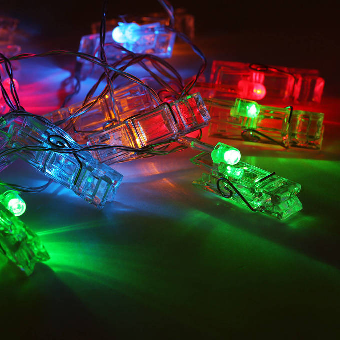 Lights.com String Lights Decorative String Lights Multicolor 20 LED Clothespin Battery ...