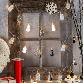 Festive Mirrored Holiday Battery String Lights, Set of 3