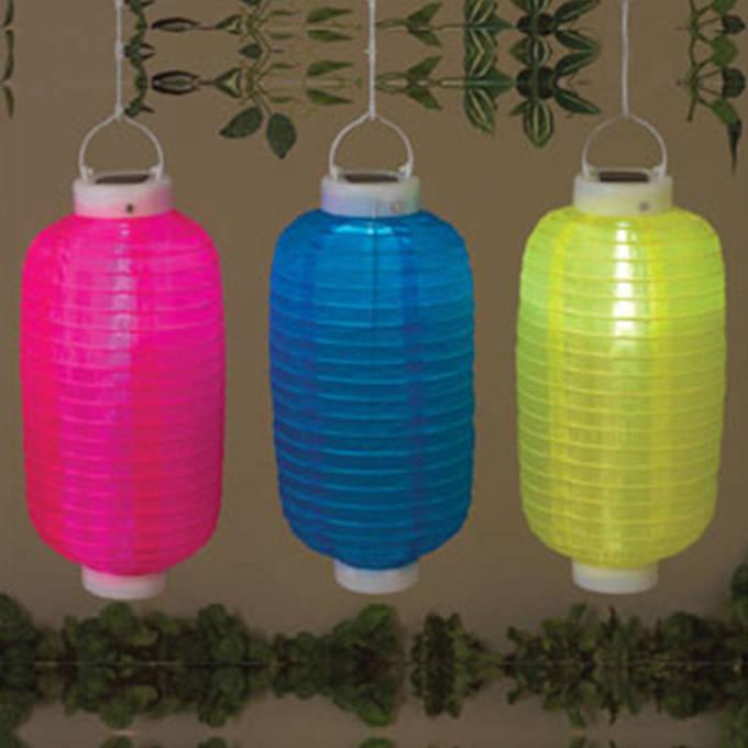 "Festival 11"" Solar Oval Lantern, Pink"