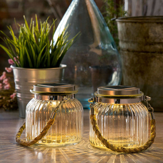 solar warm white glass jar light with rope handle set of 2