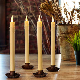 Cream Faux Drip Push-Activated Flameless Tapered Candles, Set of 4