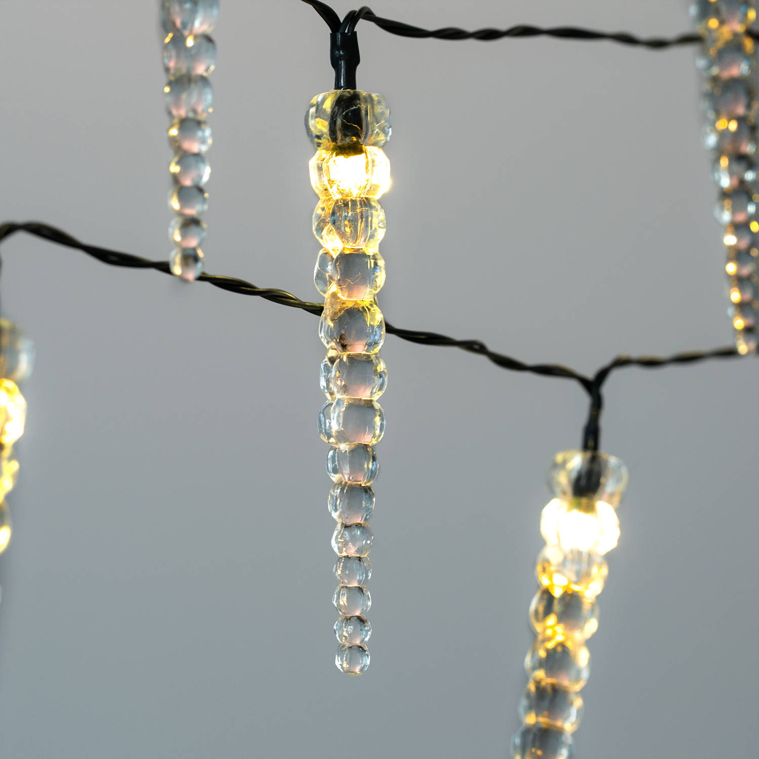 Led Icicle String Lights : Lights.com String Lights Christmas Lights Winter Icicle 20 LED Battery String Lights, Set of 2