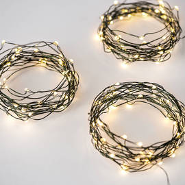Warm White 50 LED Green Wire Battery String Light, Set of 3