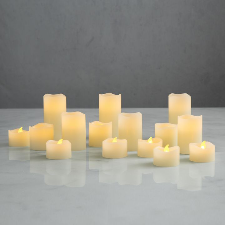 Warm White Melted Edge Flameless Ivory Wax Votives With Timers Set Of 15