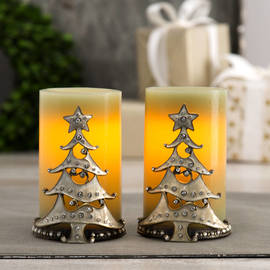 White Christmas Decorative Holder and Candle Set with Timer, Set of 2
