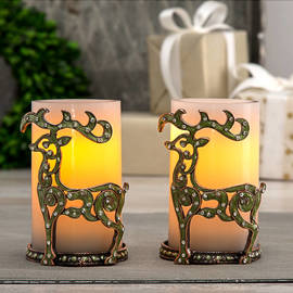 Reindeer Games Decorative Holder and Candle Set with Timer, Set of 2