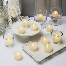 Warm White Melted Edge Flameless Tea Lights with Timers, Set of 12
