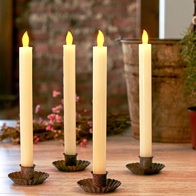 "Ivory 10"" Push-Activated Wax Taper Candles, Set of 4"