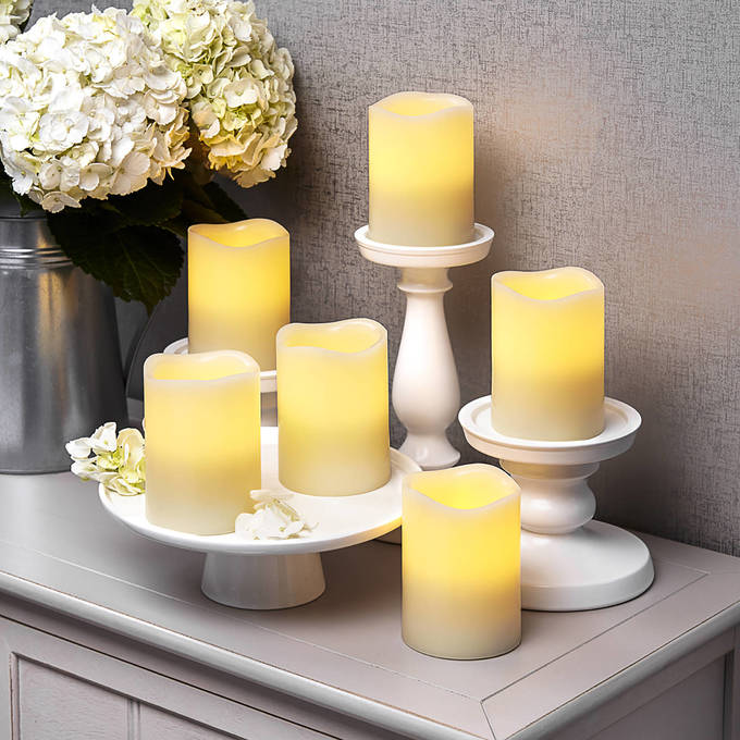 Ivory Melted Edge Flameless Wax Pillar Candles, Set of 6 with Remote