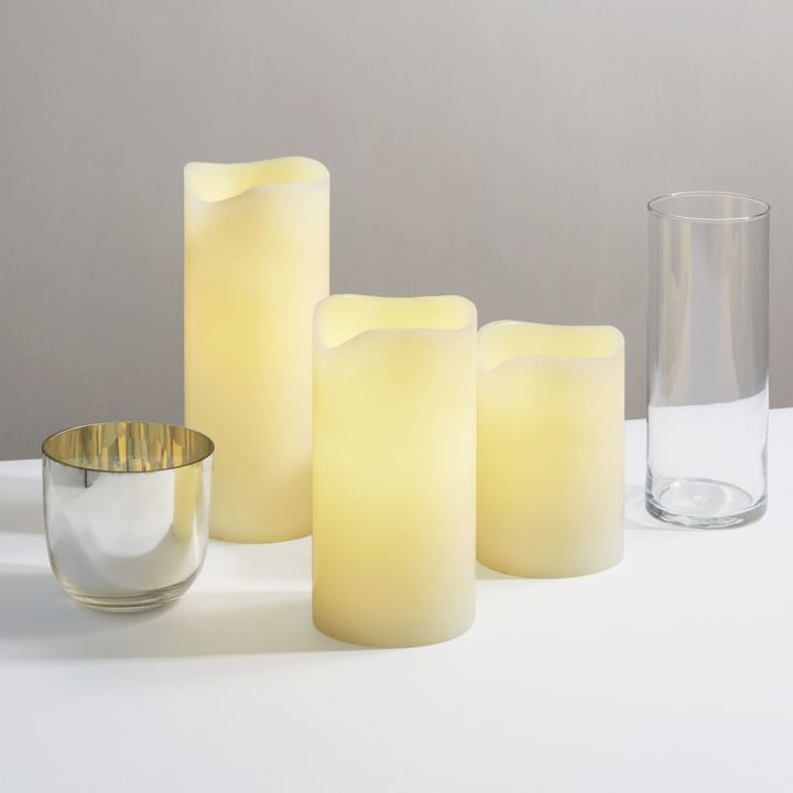 Touchstone Ivory Melted-Edge Flameless Pillar Candles, Set of 3