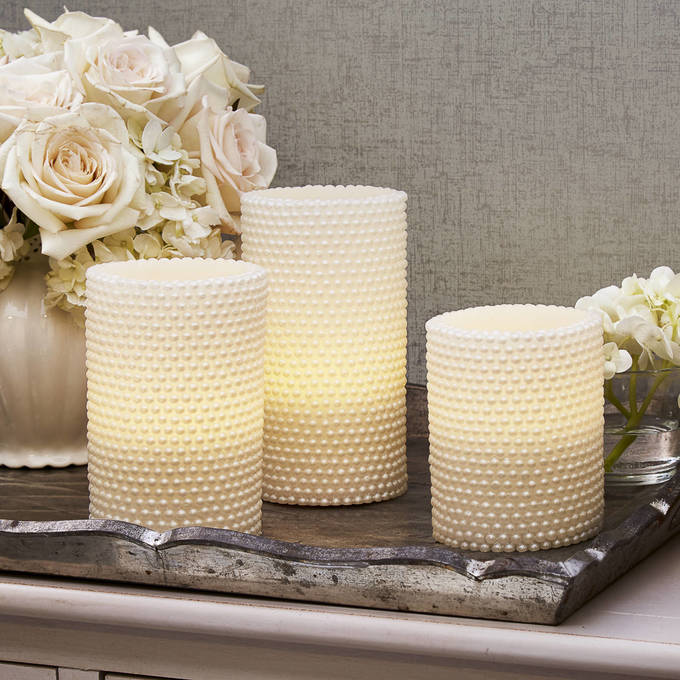 Lights Com Flameless Candles Pillar White Pearl With Remote Set Of 3