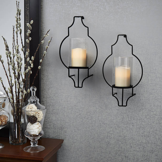 Hurricane Glass Flameless Candle Wall Sconce with Remote Set of 2 & Lights.com | Decor | Flameless Candles | Flameless Pillar Candles ...