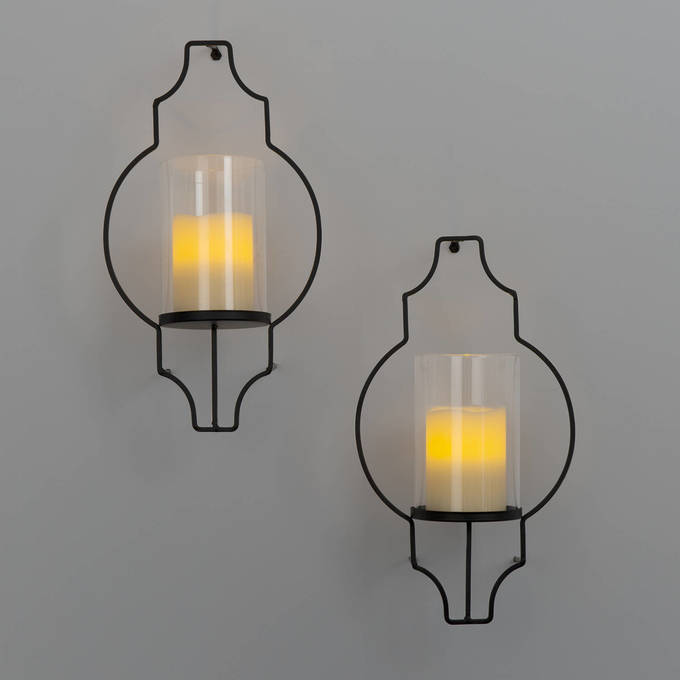 Glass Candle Wall Lights : Lights.com Flameless Candles Pillar Candles Hurricane Glass Flameless Candle Wall Sconce ...