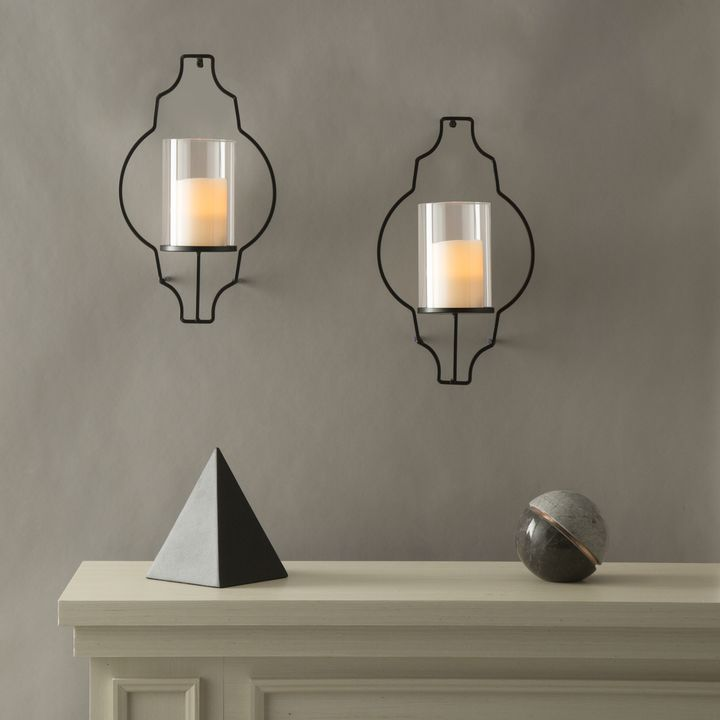 Large Wall Sconces Elements Decoration Lights.com | Decor | Flameless Candles | Flameless Pillar Candles |  Hurricane Glass Flameless Candle Wall Sconce with Remote, Set of 2