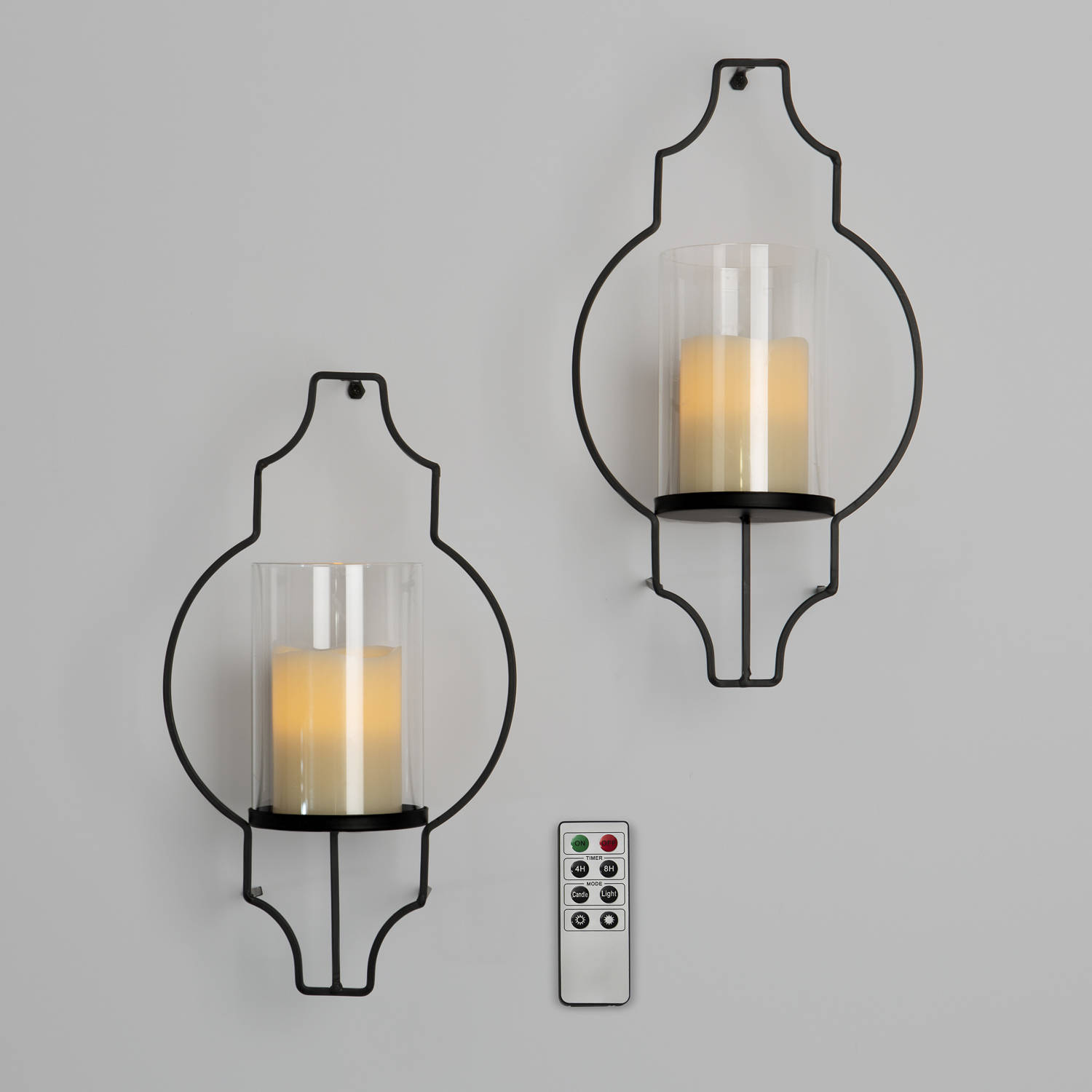 Candlestick Set Of 2 Wall Sconces With Flameless Candles : Lights.com Flameless Candles Pillar Candles Hurricane Glass Flameless Candle Wall Sconce ...