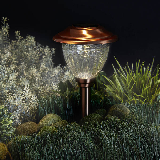 Warm White Copper Solar Path Lights, Set of 6