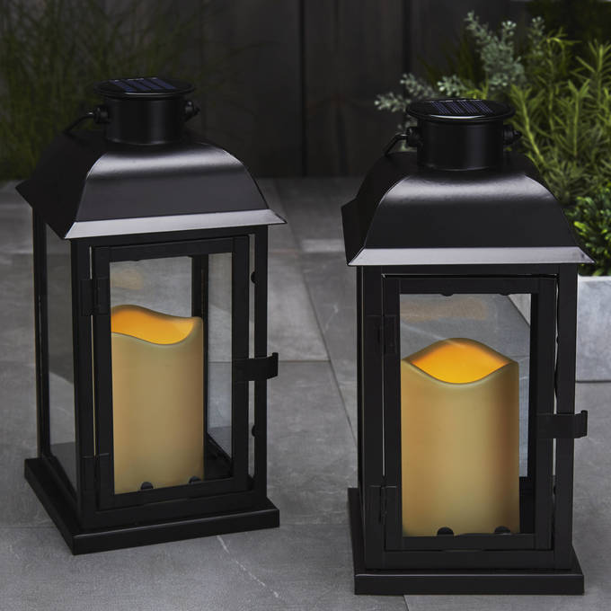 "Solar 11"" Black Metal Flameless Lantern, Set of 2"