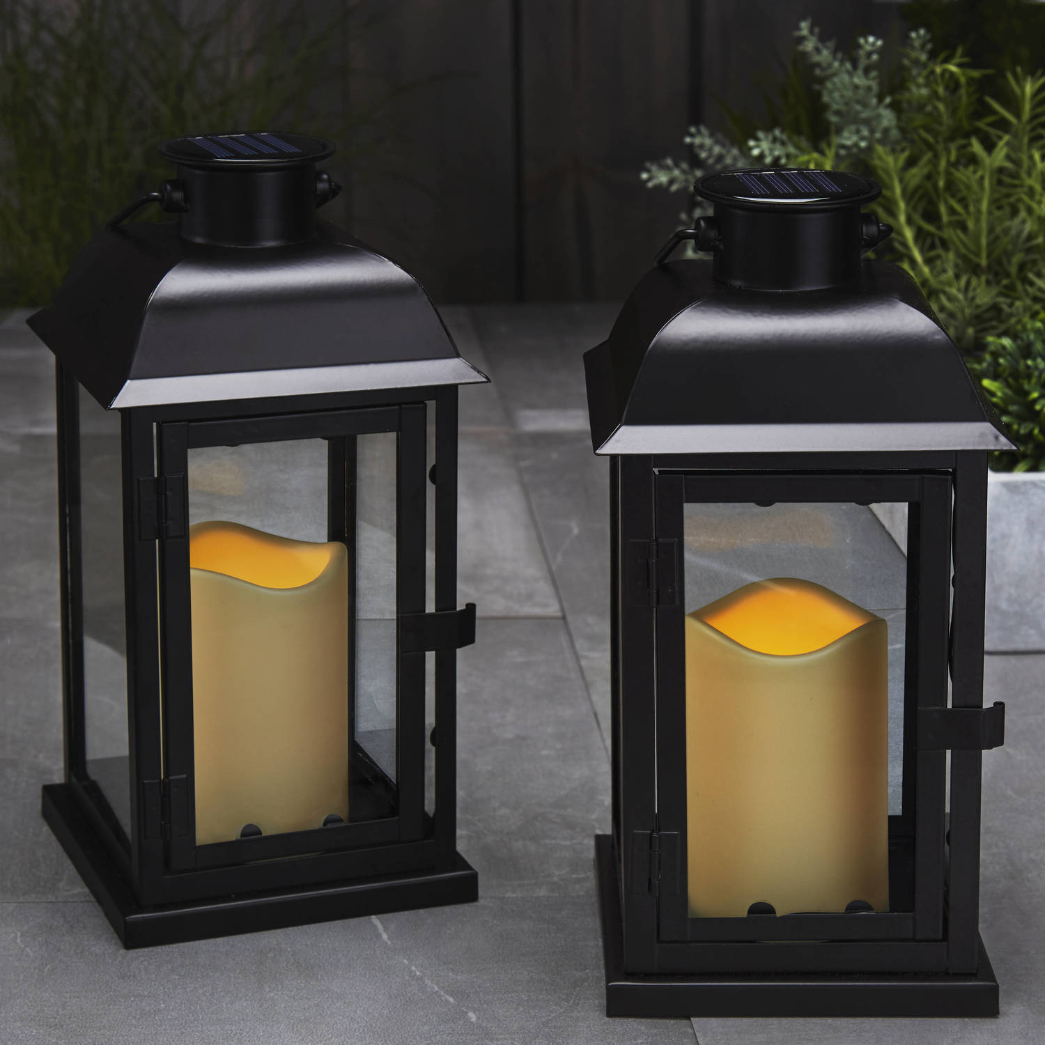 Solar Wall Lantern Lights : Lights.com Flameless Candles Lanterns Solar 11.5