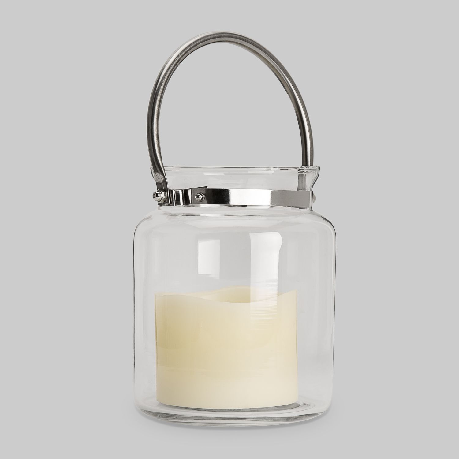 Lights.com Flameless Candles Lanterns Brighton Glass Hurricane Lantern with Flameless ...