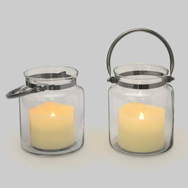 Brighton Glass Hurricane Lantern with Flameless Candle, Set of 2