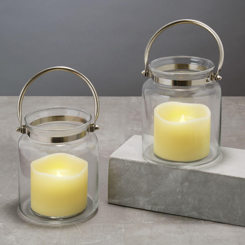 Lights.com Flameless Candles Lanterns Brighton Glass Hurricane Lantern with Flameless ...