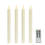 "Cream 10"" Push-Activated Wax Taper Candles with Remote, Set of 4"