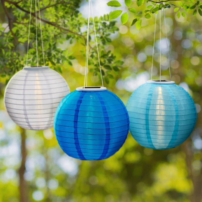 "Coastal Blues 12"" Solar Lanterns, Set of 3"