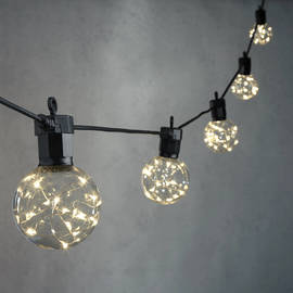 Celestial Globe String Lights with Silver Wire LEDs, Strand of 10