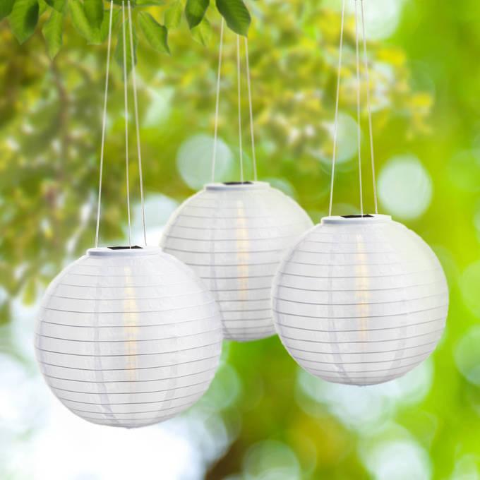 "Pearl 12"" Solar Lanterns, Set of 3"