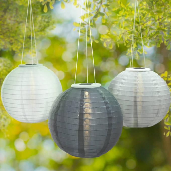"Slate Garden Grey 12"" Solar Lanterns, Set of 3"