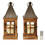 Dover Rustic Tin Wooden Lantern with Warm White LED Candle, Set of 2