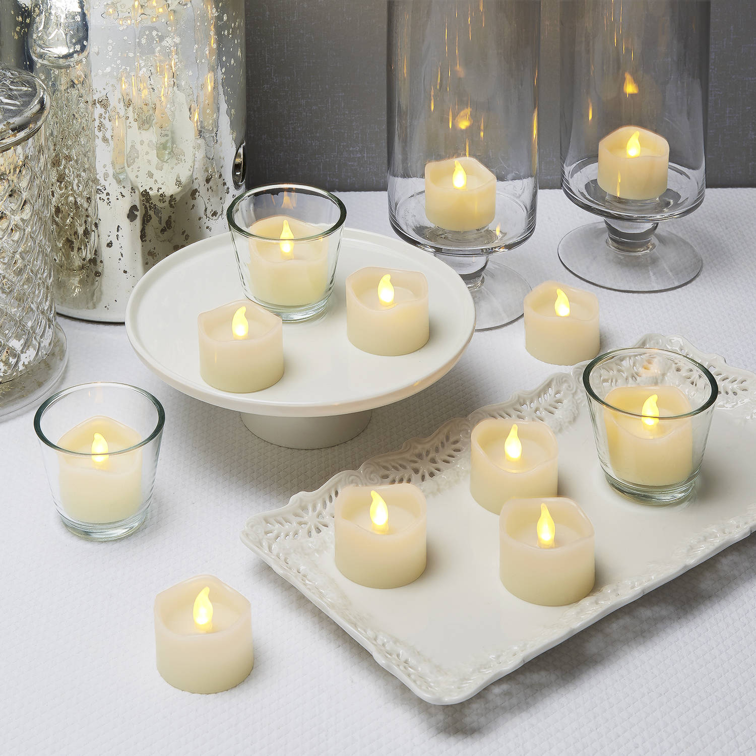 Lit Decor Flameless Candles Tea Lights Led Ivory Wax Tealights Set Of 12