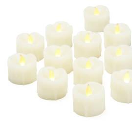LED Ivory Wax Drip Tealights, Set of 12