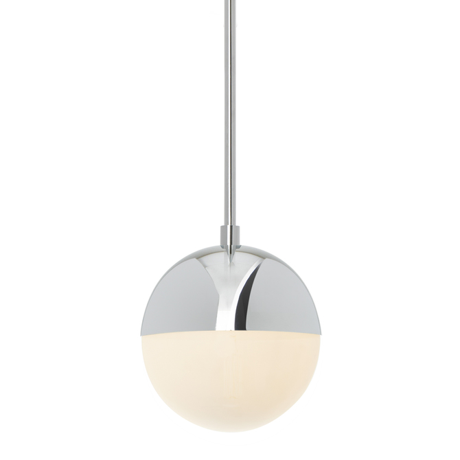 Powell Pendant with Hooded White Globe, Chrome