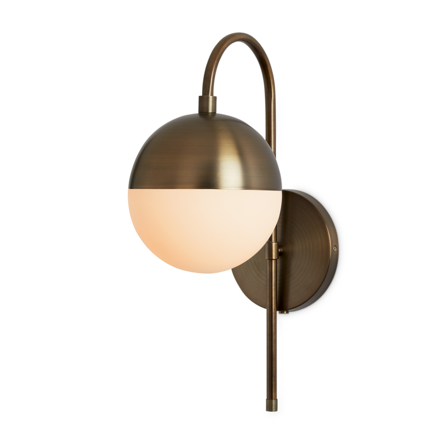 Drawstring Wall Lights : Lights.com Wall Lights Powell Wall Sconce with Hooded White Globe, Bronze