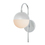 Powell Wall Sconce with Hooded White Globe, Chrome