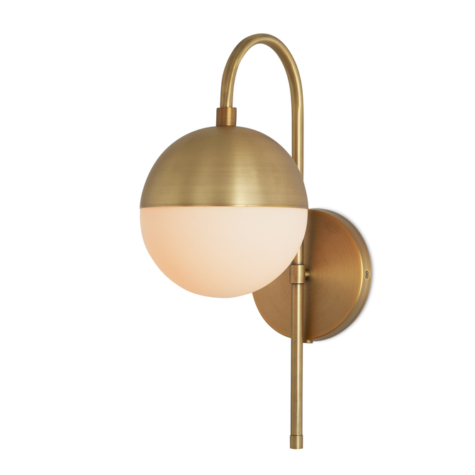 Powell Led Wall Sconce With Hooded White Globe Aged Br