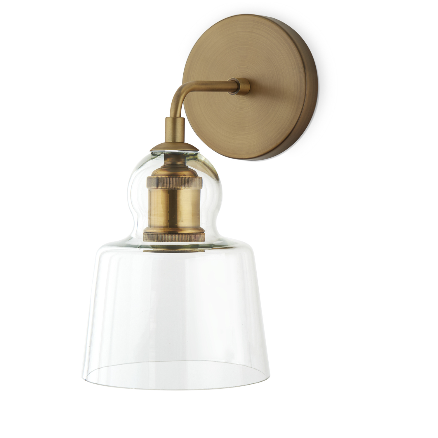 Lights.com Wall Lights Hoyt Wall Sconce with Tapered Bell Glass, Aged Brass