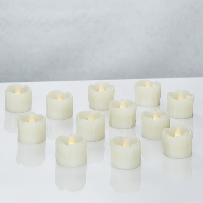 LED Ivory Wax Drip Tealights, Set of 12
