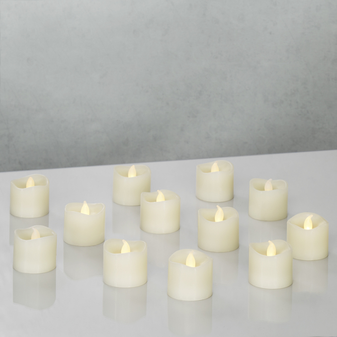 Battery Operated Ivory Wax Tea Lights, Set of 12