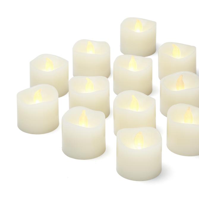 LED Ivory Wax Tealights, Set of 12