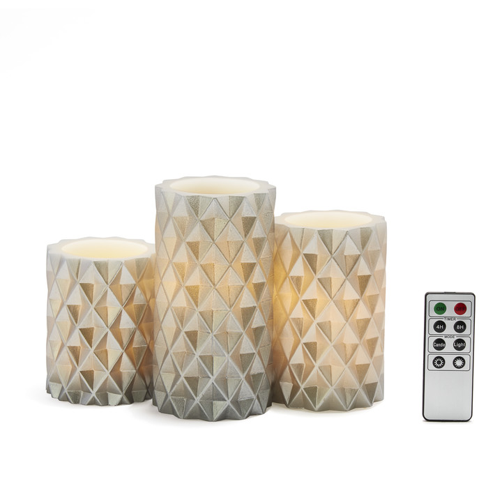 Geometric Silver Pillar Candles, Set of 3