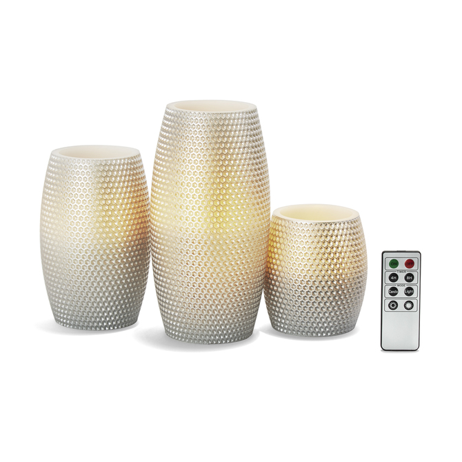 Round Silver Honeycomb Carved Candles, Set of 3