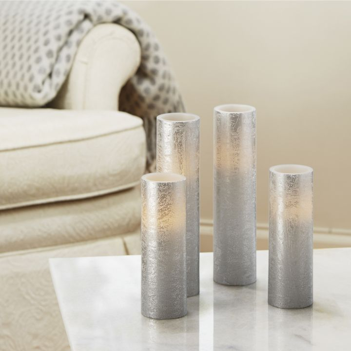 Textured Silver Slim Pillar Candles, Set of 4