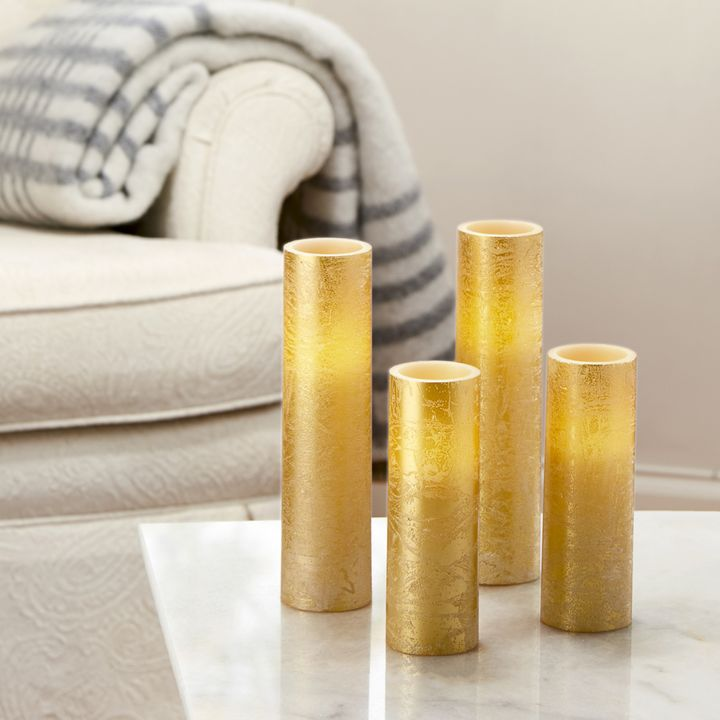 Gold Distressed Flat Top Slim Pillar Candles with Remote, Set of 4