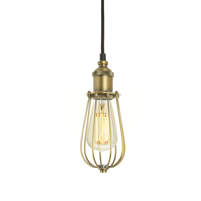 Alton Pendant with Raindrop Cage, Aged Brass