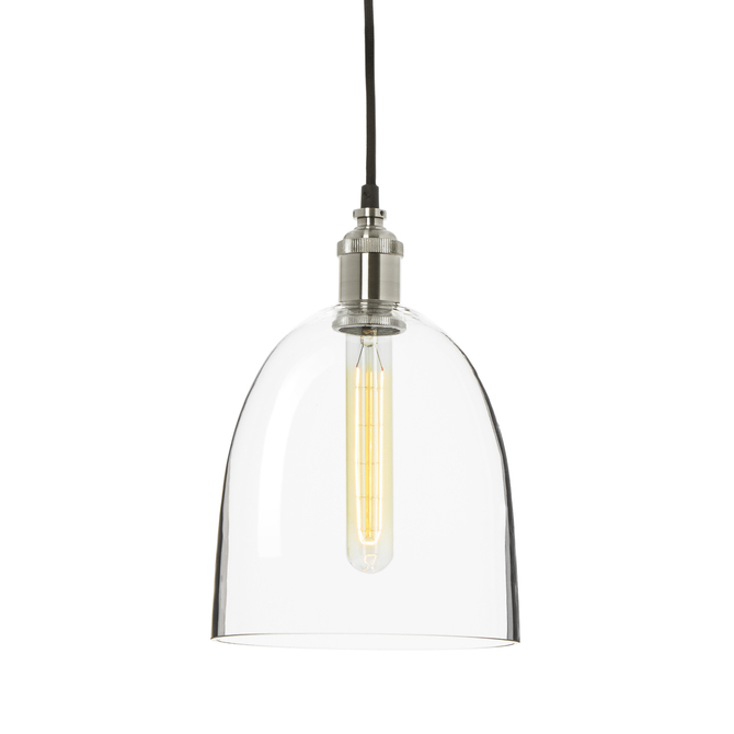 Alton Pendant with Chic Dome Glass, Satin Nickel